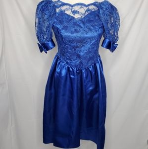 VINTAGE puff sleeve lace formal high low bow dress